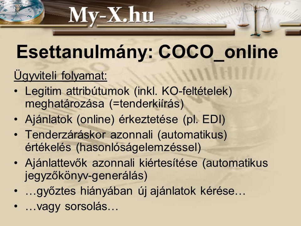 INNOCSEKK 156/2006 Esettanulmány: COCO_online Ügyviteli folyamat: Legitim attribútumok (inkl. KO-feltételek) meghatározása (=tenderkiírás) Ajánlatok (