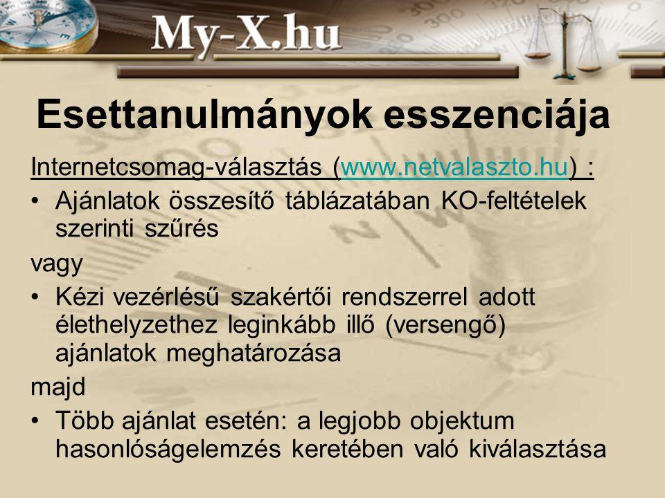 INNOCSEKK 156/2006 Esettanulmányok esszenciája Internetcsomag-választás (www.netvalaszto.hu) :www.netvalaszto.hu Ajánlatok összesítő táblázatában KO-f
