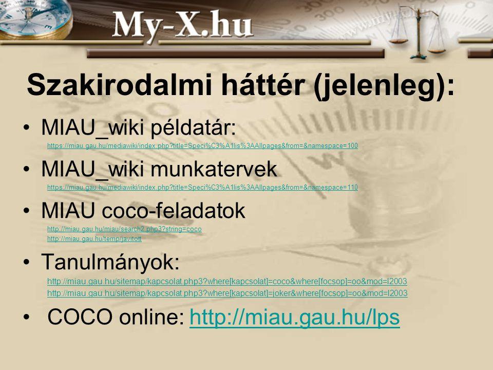 INNOCSEKK 156/2006 Szakirodalmi háttér (jelenleg): MIAU_wiki példatár: https://miau.gau.hu/mediawiki/index.php?title=Speci%C3%A1lis%3AAllpages&from=&n
