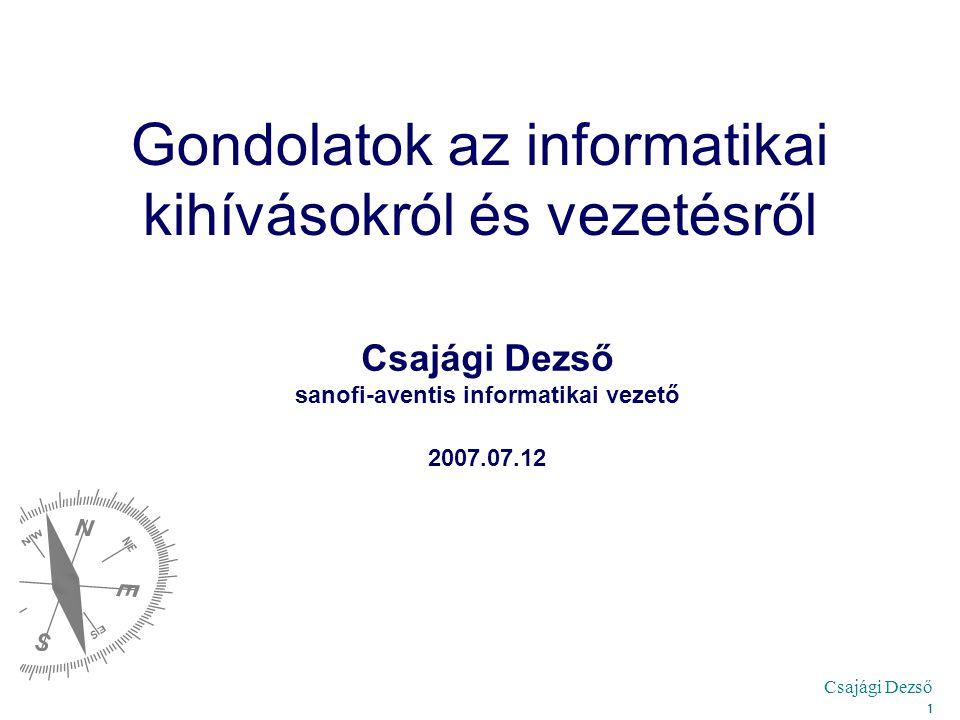 Csajági Dezső 1 Gondolatok az informatikai kihívásokról és vezetésről Csajági Dezső sanofi-aventis informatikai vezető 2007.07.12