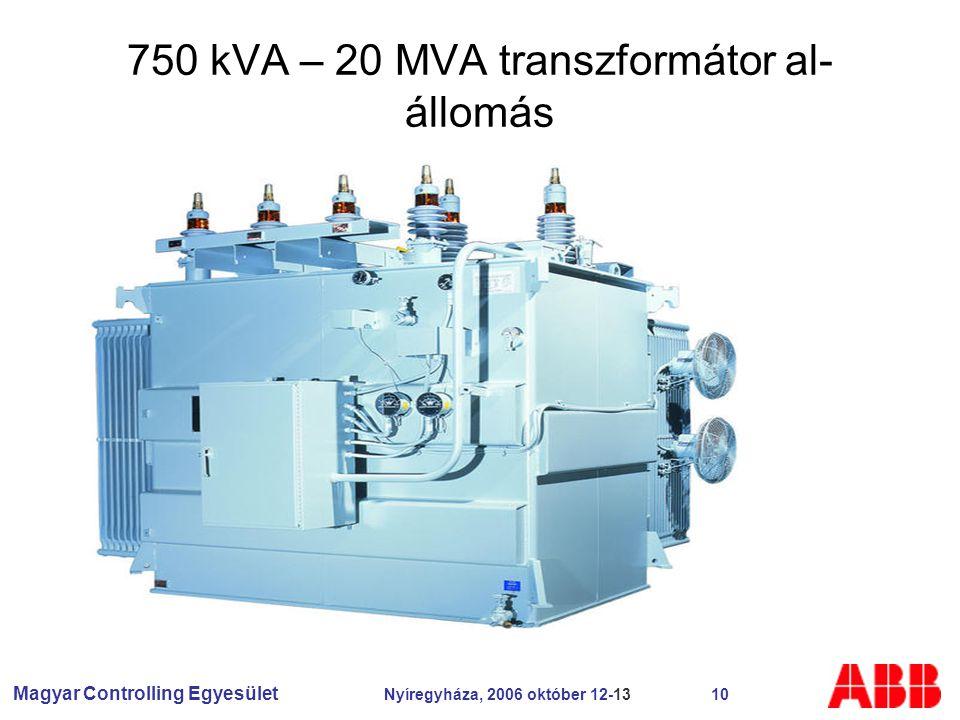 Magyar Controlling Egyesület Nyíregyháza, 2006 október 12-13 10 750 kVA – 20 MVA transzformátor al- állomás