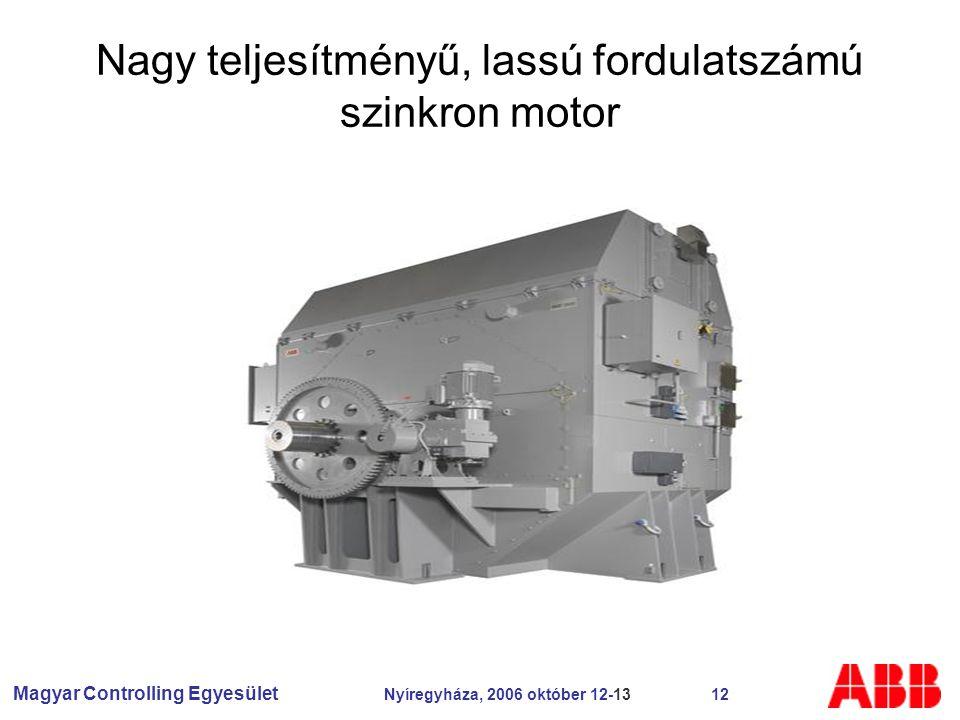 Magyar Controlling Egyesület Nyíregyháza, 2006 október 12-13 12 Nagy teljesítményű, lassú fordulatszámú szinkron motor