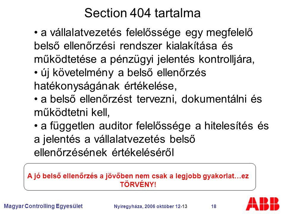 Magyar Controlling Egyesület Nyíregyháza, 2006 október 12-13 18 Section 404 tartalma a vállalatvezetés felelőssége egy megfelelő belső ellenőrzési rendszer kialakítása és működtetése a pénzügyi jelentés kontrolljára, új követelmény a belső ellenőrzés hatékonyságának értékelése, a belső ellenőrzést tervezni, dokumentálni és működtetni kell, a független auditor felelőssége a hitelesítés és a jelentés a vállalatvezetés belső ellenőrzésének értékeléséről A jó belső ellenőrzés a jövőben nem csak a legjobb gyakorlat…ez TÖRVÉNY!