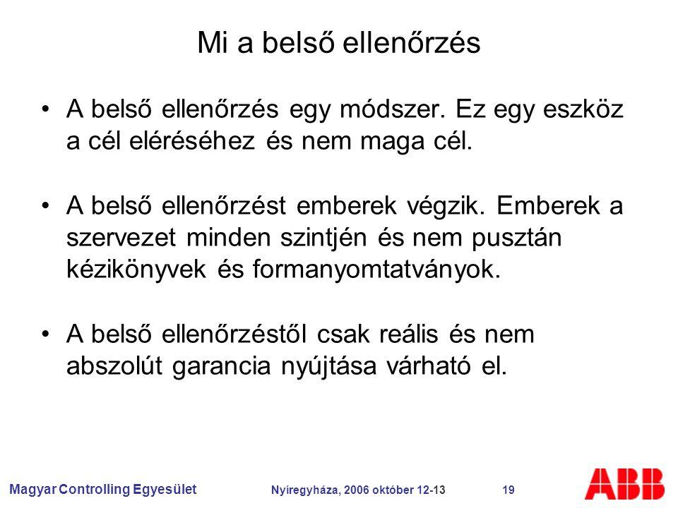 Magyar Controlling Egyesület Nyíregyháza, 2006 október 12-13 19 Mi a belső ellenőrzés A belső ellenőrzés egy módszer.