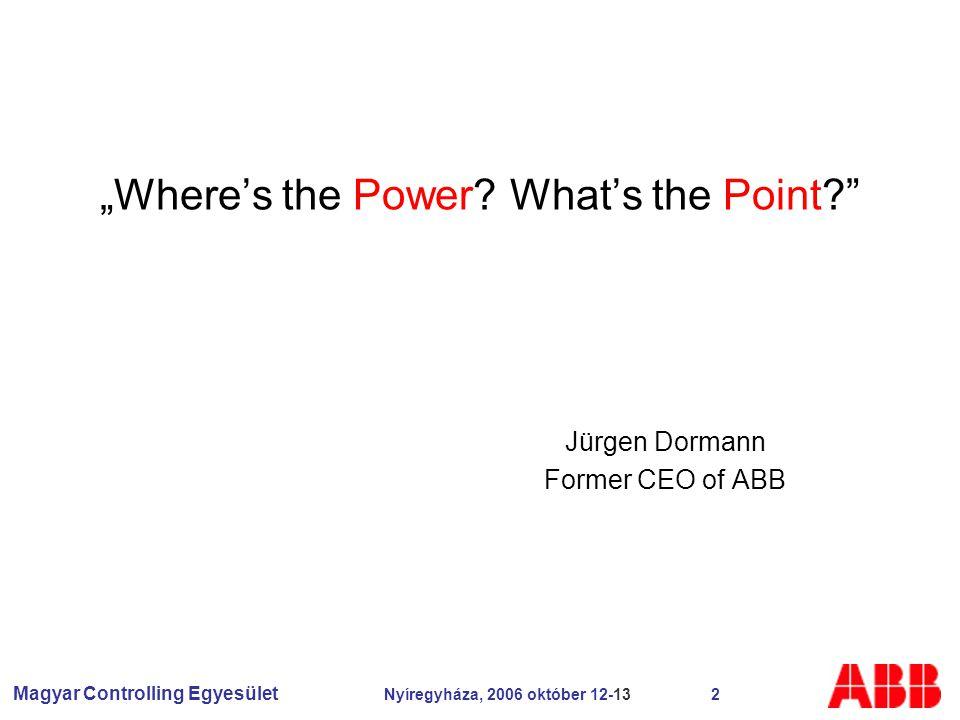 """Magyar Controlling Egyesület Nyíregyháza, 2006 október 12-13 2 """"Where's the Power."""