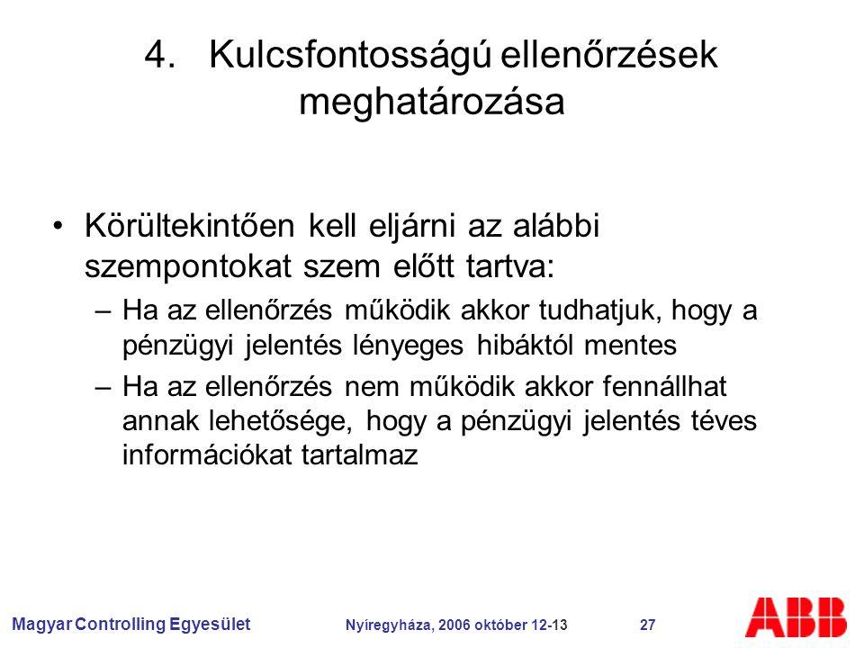 Magyar Controlling Egyesület Nyíregyháza, 2006 október 12-13 27 4.