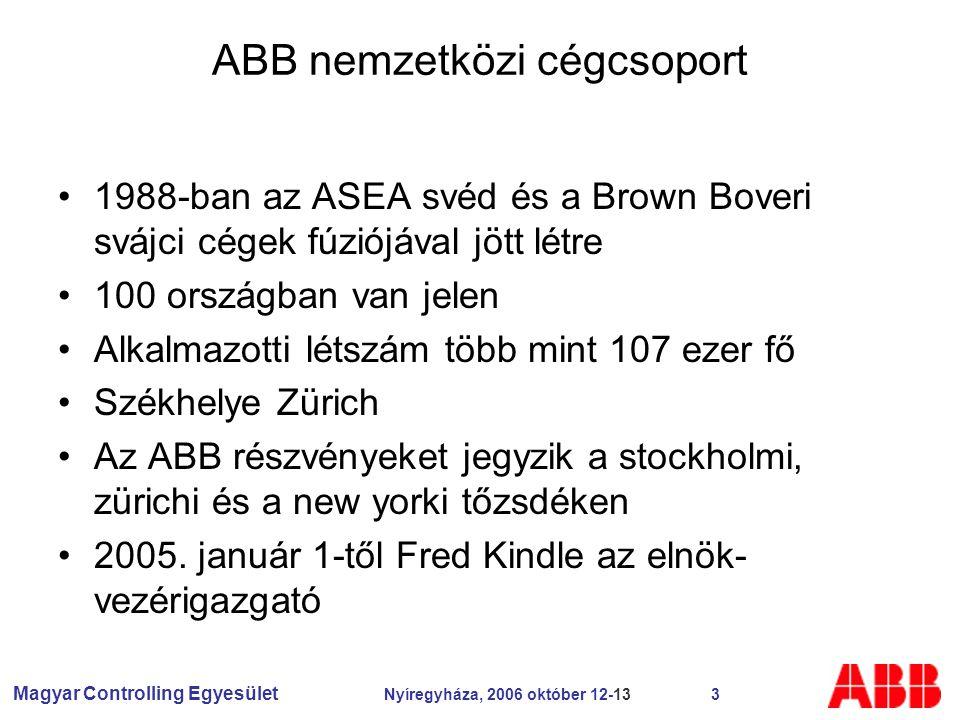 Magyar Controlling Egyesület Nyíregyháza, 2006 október 12-13 3 ABB nemzetközi cégcsoport 1988-ban az ASEA svéd és a Brown Boveri svájci cégek fúziójával jött létre 100 országban van jelen Alkalmazotti létszám több mint 107 ezer fő Székhelye Zürich Az ABB részvényeket jegyzik a stockholmi, zürichi és a new yorki tőzsdéken 2005.