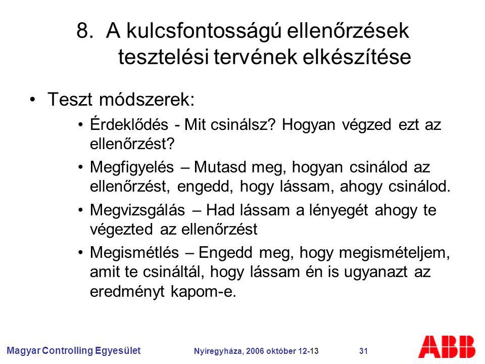 Magyar Controlling Egyesület Nyíregyháza, 2006 október 12-13 31 8.