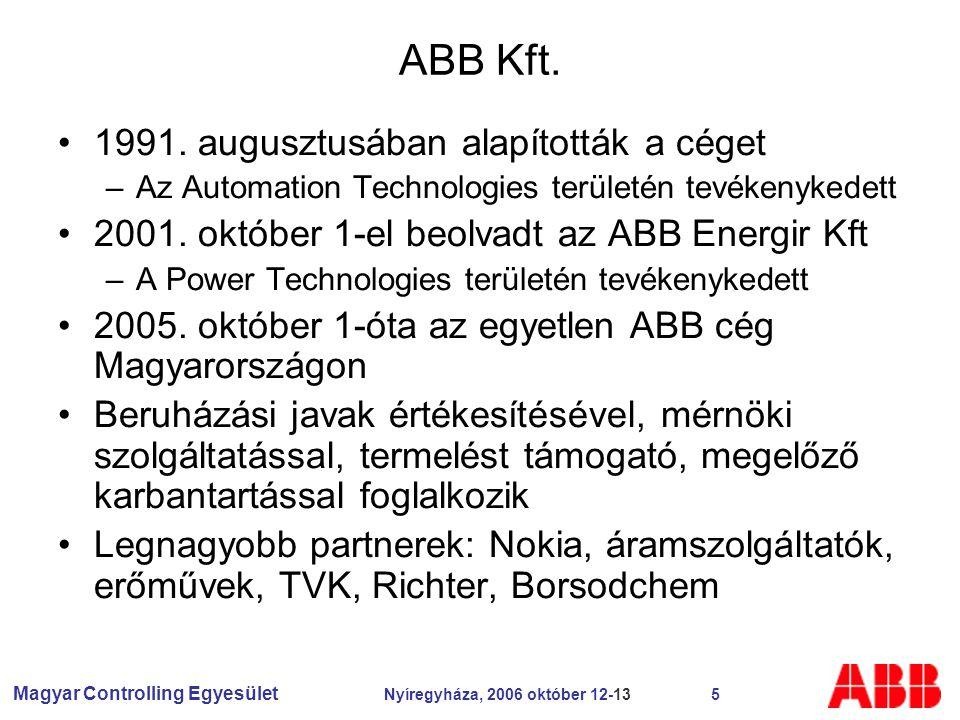 Magyar Controlling Egyesület Nyíregyháza, 2006 október 12-13 5 ABB Kft.