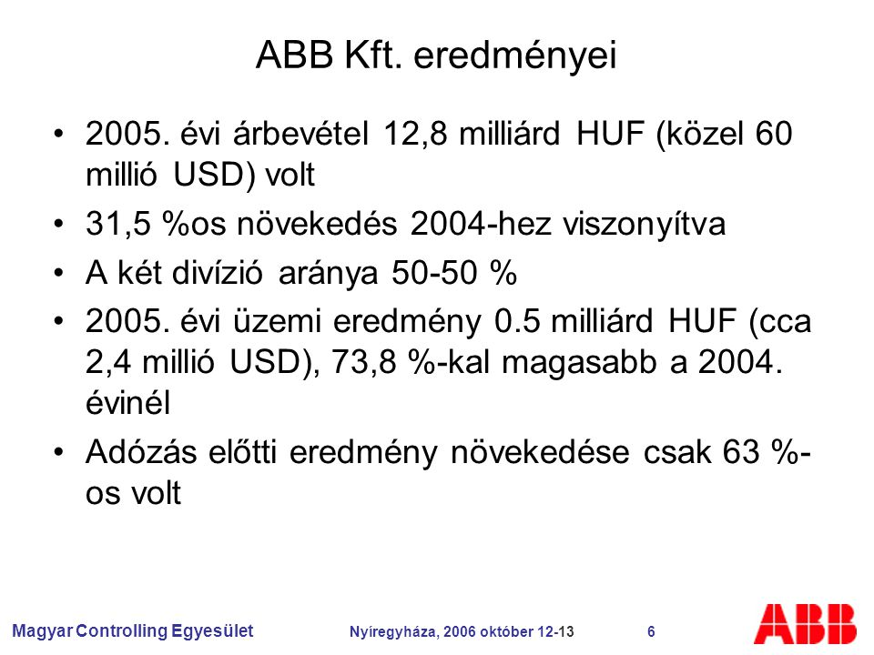 Magyar Controlling Egyesület Nyíregyháza, 2006 október 12-13 6 ABB Kft.