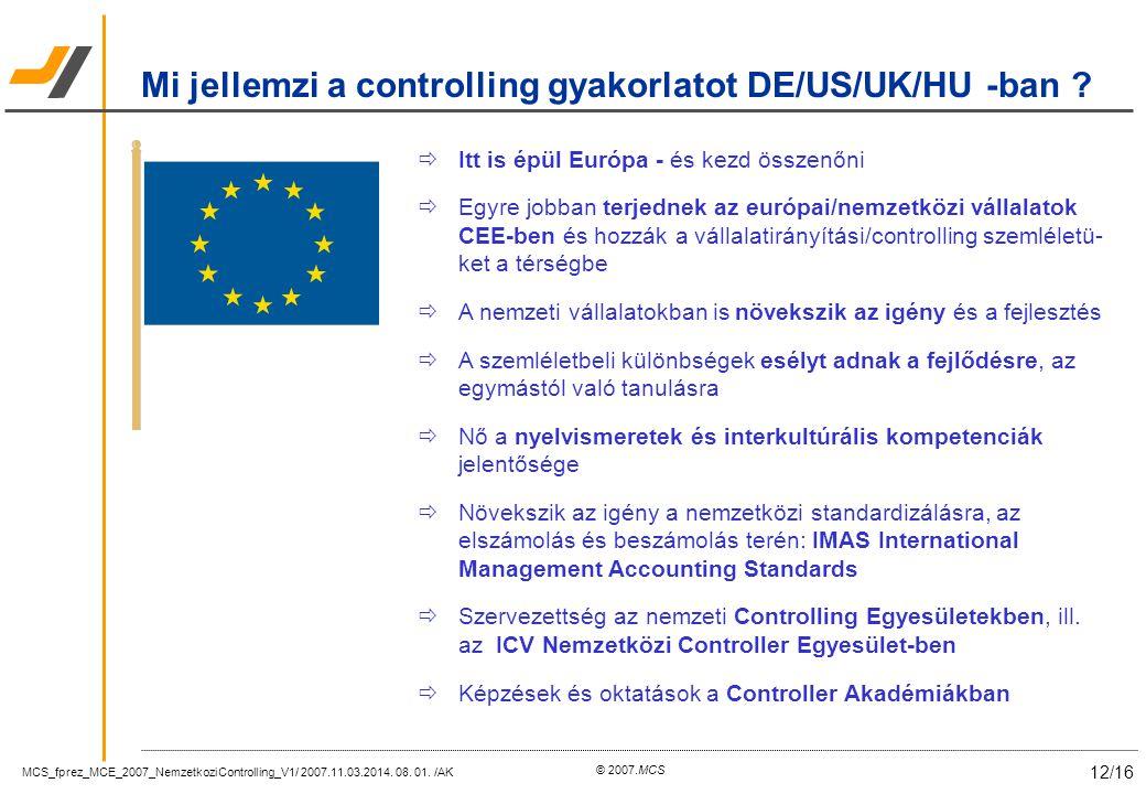 MCS_fprez_MCE_2007_NemzetkoziControlling_V1/ 2007.11.03.2014. 08. 01. /AK 12/16 © 2007.MCS  Itt is épül Európa - és kezd összenőni  Egyre jobban ter