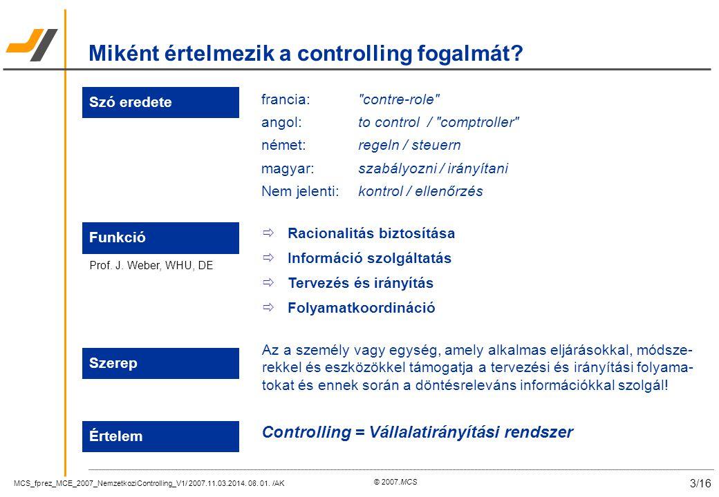 MCS_fprez_MCE_2007_NemzetkoziControlling_V1/ 2007.11.03.2014. 08. 01. /AK 3/16 © 2007.MCS Miként értelmezik a controlling fogalmát? Szó eredete franci