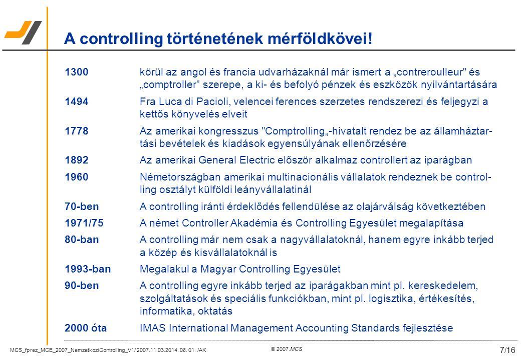MCS_fprez_MCE_2007_NemzetkoziControlling_V1/ 2007.11.03.2014. 08. 01. /AK 7/16 © 2007.MCS A controlling történetének mérföldkövei! 1300körül az angol