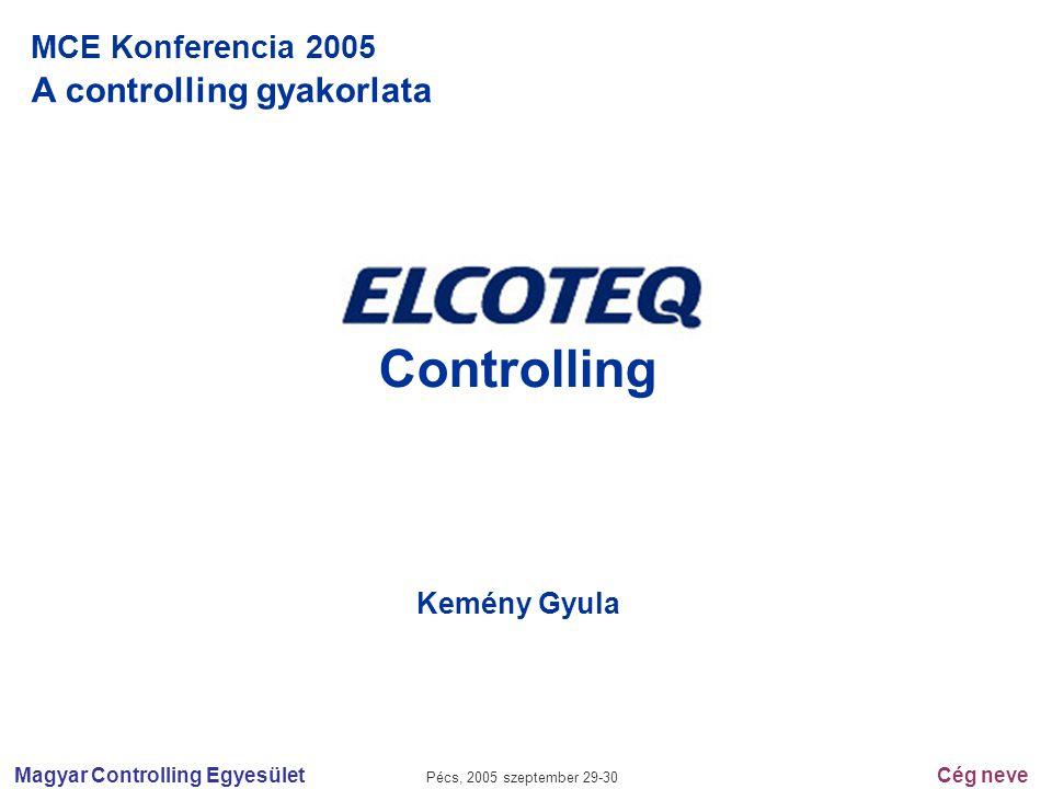 Magyar Controlling Egyesület Pécs, 2005 szeptember 29-30 Cég neve MCE Konferencia 2005 A controlling gyakorlata Controlling Kemény Gyula