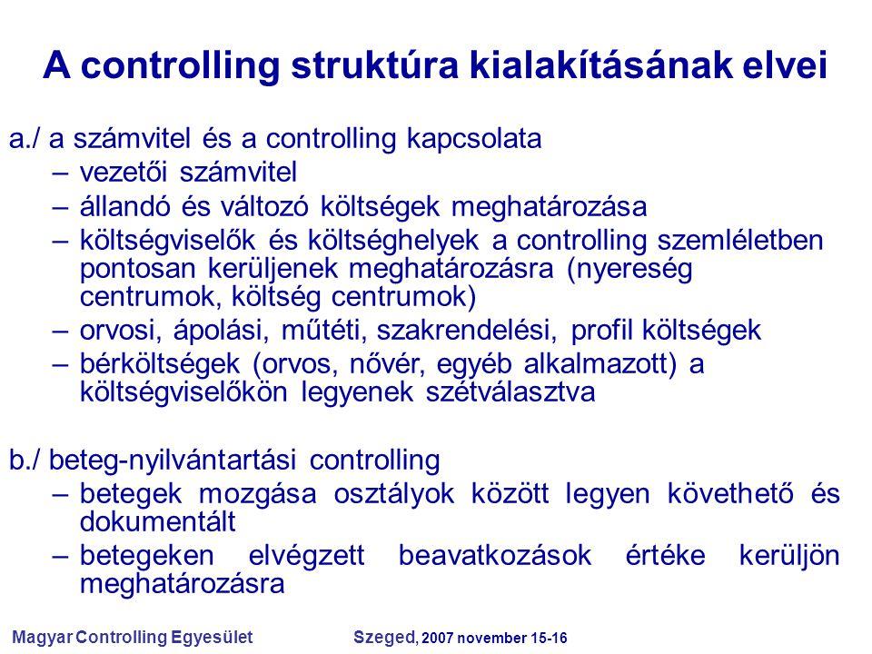 Magyar Controlling Egyesület Szeged, 2007 november 15-16 A controlling struktúra kialakításának elvei a./ a számvitel és a controlling kapcsolata –vez
