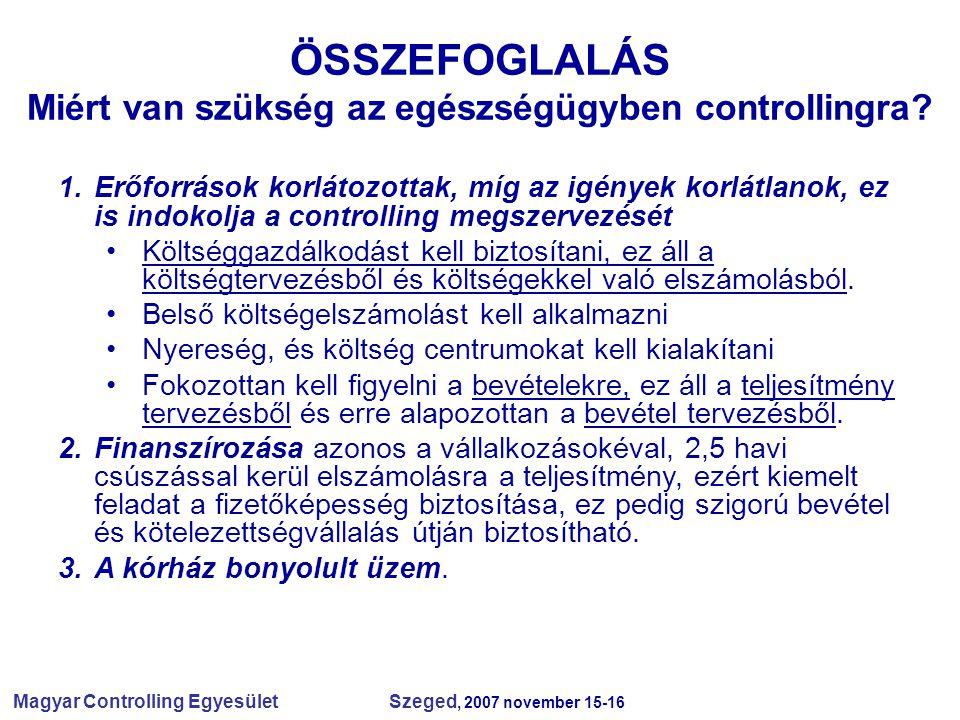 Magyar Controlling Egyesület Szeged, 2007 november 15-16 ÖSSZEFOGLALÁS Miért van szükség az egészségügyben controllingra? 1.Erőforrások korlátozottak,