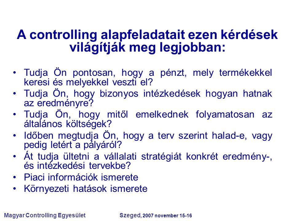 Magyar Controlling Egyesület Szeged, 2007 november 15-16 A controlling alapfeladatait ezen kérdések világítják meg legjobban: Tudja Ön pontosan, hogy a pénzt, mely termékekkel keresi és melyekkel veszti el.