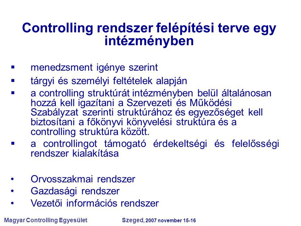 Magyar Controlling Egyesület Szeged, 2007 november 15-16  menedzsment igénye szerint  tárgyi és személyi feltételek alapján  a controlling struktúr