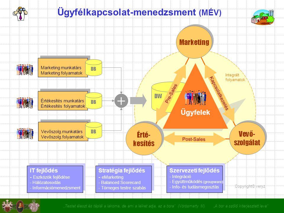 """""""Testet éleszt és táplál a lakoma, de ami a lelket adja, az a bora (Vörösmarty M) """"A bor a szőlő kiterjesztett leve Ügyfélkapcsolat-menedzsment (MÉV) + IT fejlődés - Eszközök fejlődése - Hálózatosodás - Információmenedzsment IT fejlődés - Eszközök fejlődése - Hálózatosodás - Információmenedzsment Stratégia fejlődés - eMarketing - Balanced Scorecard - Tömeges testre szabás Stratégia fejlődés - eMarketing - Balanced Scorecard - Tömeges testre szabás Szervezeti fejlődés - Integráció - Együttműködés (groupware) - Info- és tudásmegosztás Szervezeti fejlődés - Integráció - Együttműködés (groupware) - Info- és tudásmegosztás Ügyfelek Pre-Sales Kapcsolatkezelés Post-Sales Marketing Érté- kesítés Érté- kesítés Vevő- szolgálat Vevő- szolgálat DW Copyright© veryz Marketing munkatárs Marketing folyamatok Marketing munkatárs Marketing folyamatok Értékesítés munkatárs Értékesítés folyamatok Értékesítés munkatárs Értékesítés folyamatok Vevőszolg.munkatárs Vevőszolg.folyamatok Vevőszolg.munkatárs Vevőszolg.folyamatok DB Integrált folyamatok"""