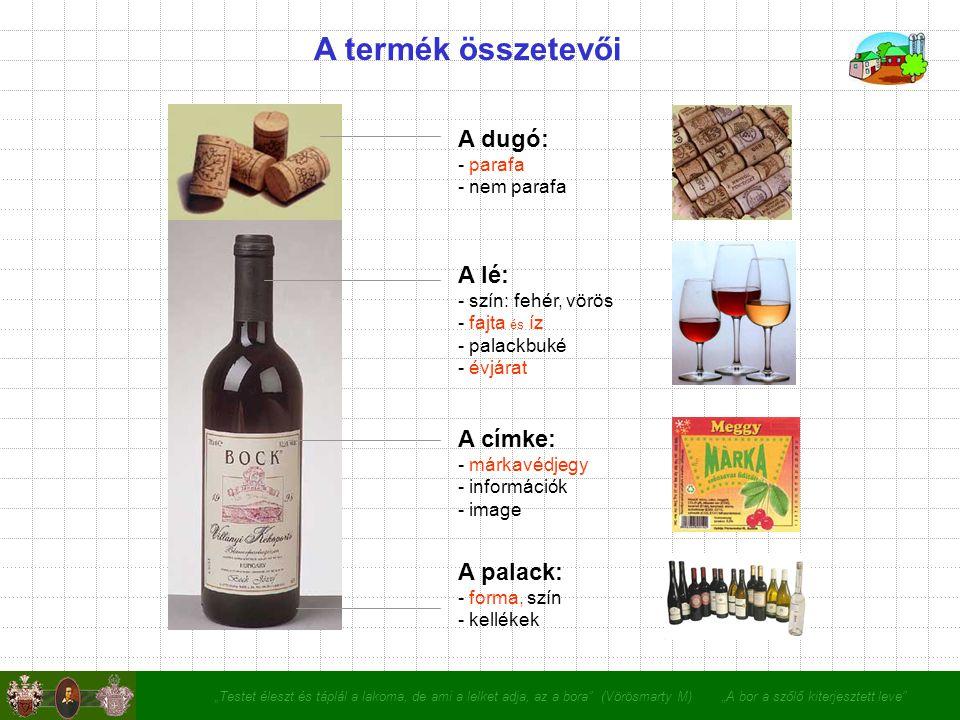 """""""Testet éleszt és táplál a lakoma, de ami a lelket adja, az a bora (Vörösmarty M) """"A bor a szőlő kiterjesztett leve A termék összetevői A dugó: - parafa - nem parafa A lé: - szín: fehér, vörös - fajta és íz - palackbuké - évjárat A címke: - márkavédjegy - információk - image A palack: - forma, szín - kellékek"""