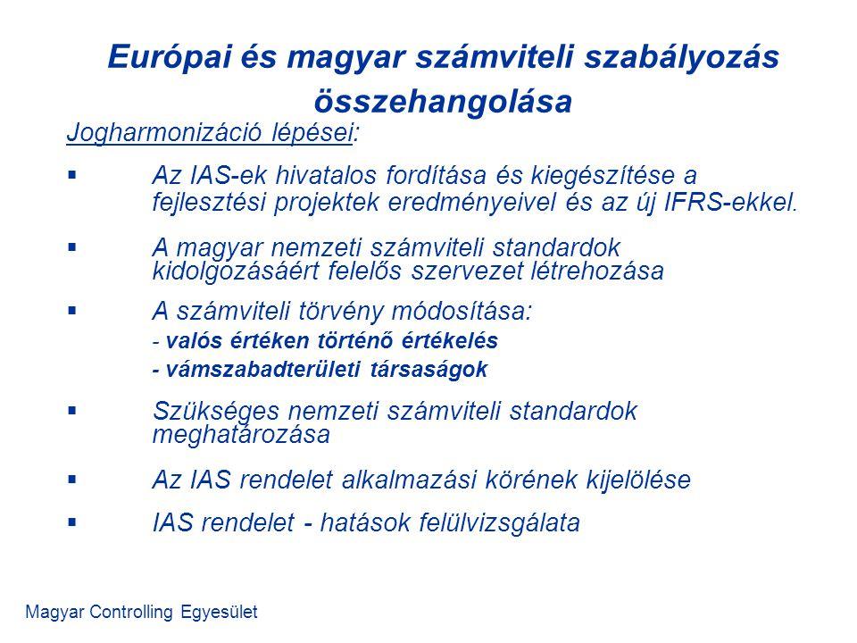 Magyar Controlling Egyesület Jogharmonizáció lépései:  Az IAS-ek hivatalos fordítása és kiegészítése a fejlesztési projektek eredményeivel és az új IFRS-ekkel.