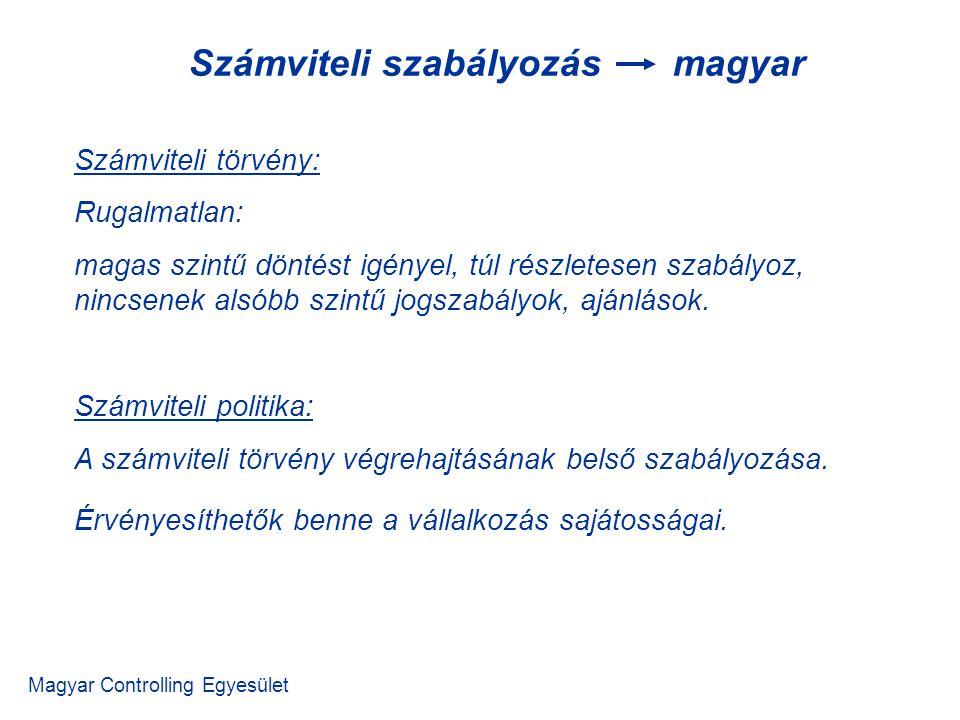 Magyar Controlling Egyesület Számviteli törvény: Rugalmatlan: magas szintű döntést igényel, túl részletesen szabályoz, nincsenek alsóbb szintű jogszab