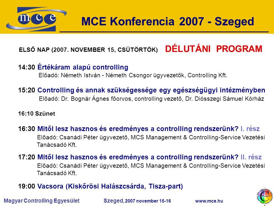 Magyar Controlling Egyesület Szeged, 2007 november 15-16 www.mce.hu MCE Konferencia 2007 - Szeged 14:30 Értékáram alapú controlling Előadó: Németh István - Németh Csongor ügyvezetők, Controlling Kft.