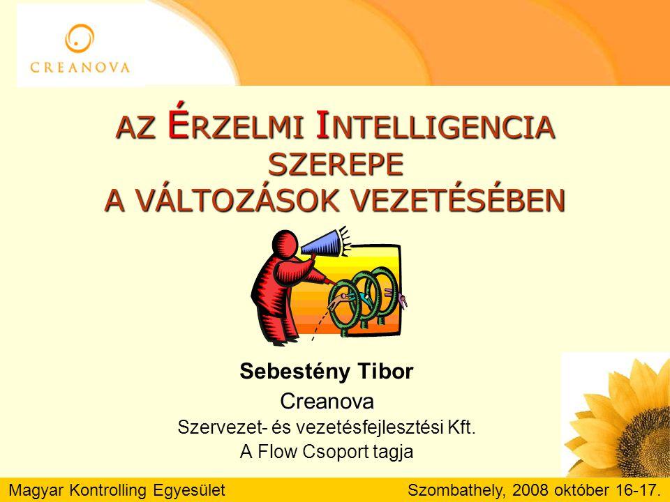 Magyar Kontrolling Egyesület Szombathely, 2008 október 16-17.Irodalom Daniel Coleman: Érzelmi intelligencia a munkahelyen