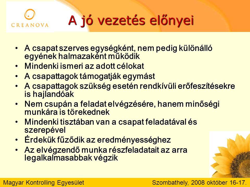 Magyar Kontrolling Egyesület Szombathely, 2008 október 16-17. A JÉGHEGY-ARÁNY ?!