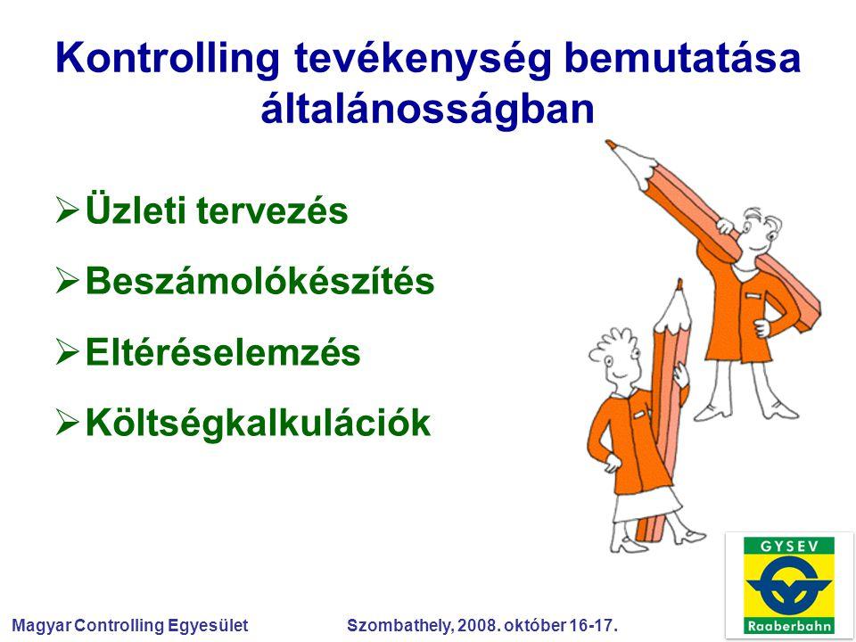Magyar Controlling Egyesület Szombathely, 2008. október 16-17. Kontrolling tevékenység bemutatása általánosságban  Üzleti tervezés  Beszámolókészíté