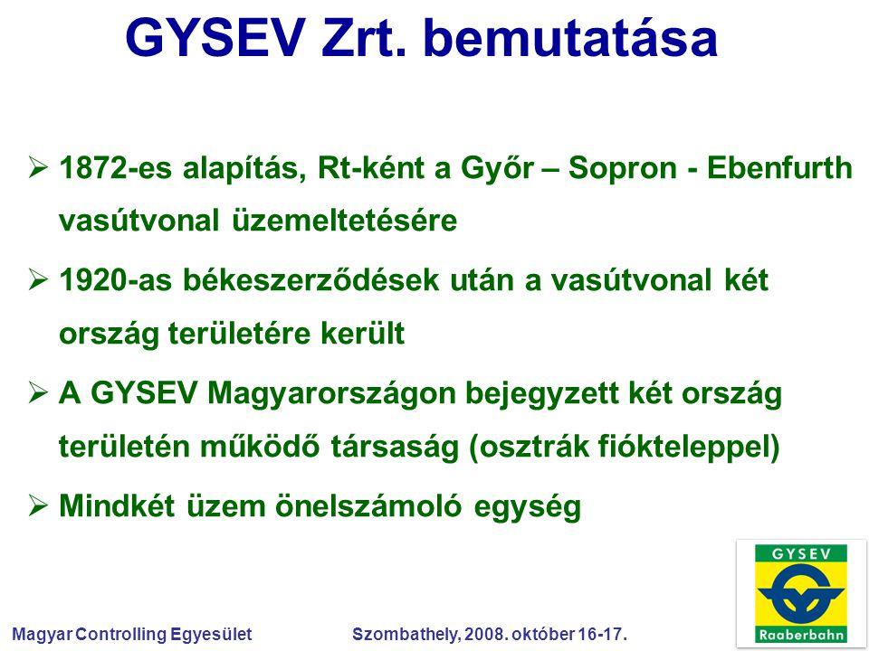 Magyar Controlling Egyesület Szombathely, 2008. október 16-17. GYSEV Zrt. bemutatása  1872-es alapítás, Rt-ként a Győr – Sopron - Ebenfurth vasútvona