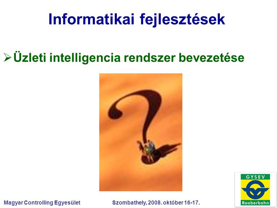 Magyar Controlling Egyesület Szombathely, 2008. október 16-17. Informatikai fejlesztések  Üzleti intelligencia rendszer bevezetése
