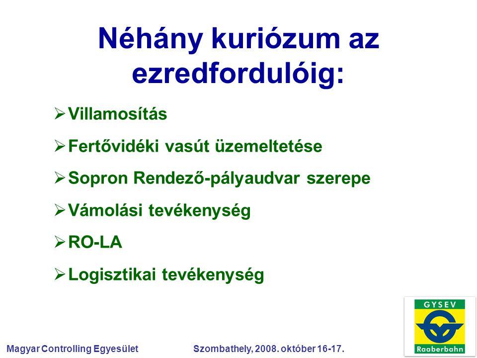 Magyar Controlling Egyesület Szombathely, 2008. október 16-17. Néhány kuriózum az ezredfordulóig:  Villamosítás  Fertővidéki vasút üzemeltetése  So
