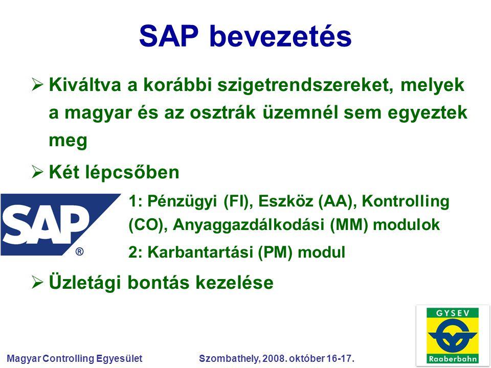 Magyar Controlling Egyesület Szombathely, 2008. október 16-17. SAP bevezetés  Kiváltva a korábbi szigetrendszereket, melyek a magyar és az osztrák üz