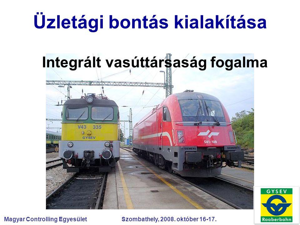 Magyar Controlling Egyesület Szombathely, 2008. október 16-17. Üzletági bontás kialakítása Integrált vasúttársaság fogalma