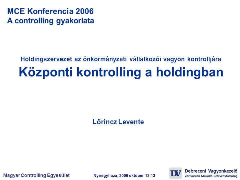 Magyar Controlling Egyesület Nyíregyháza, 2006 október 12-13 MCE Konferencia 2006 A controlling gyakorlata Holdingszervezet az önkormányzati vállalkoz
