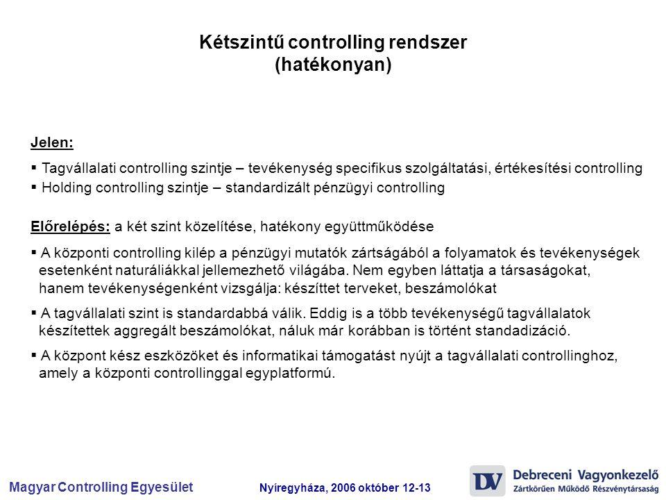 Magyar Controlling Egyesület Nyíregyháza, 2006 október 12-13 Kétszintű controlling rendszer (hatékonyan)  Tagvállalati controlling szintje – tevékeny