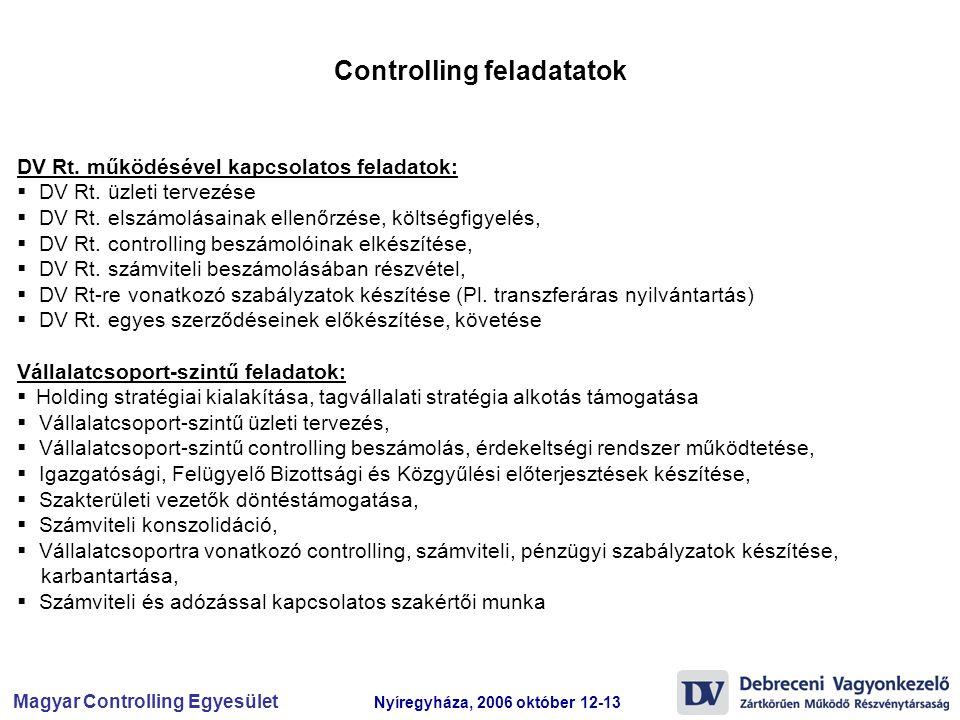 Magyar Controlling Egyesület Nyíregyháza, 2006 október 12-13 DV Rt. működésével kapcsolatos feladatok:  DV Rt. üzleti tervezése  DV Rt. elszámolásai