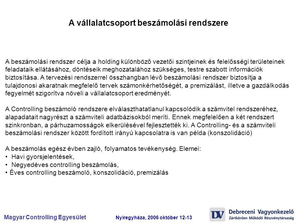 Magyar Controlling Egyesület Nyíregyháza, 2006 október 12-13 A beszámolási rendszer célja a holding különböző vezetői szintjeinek és felelősségi terül