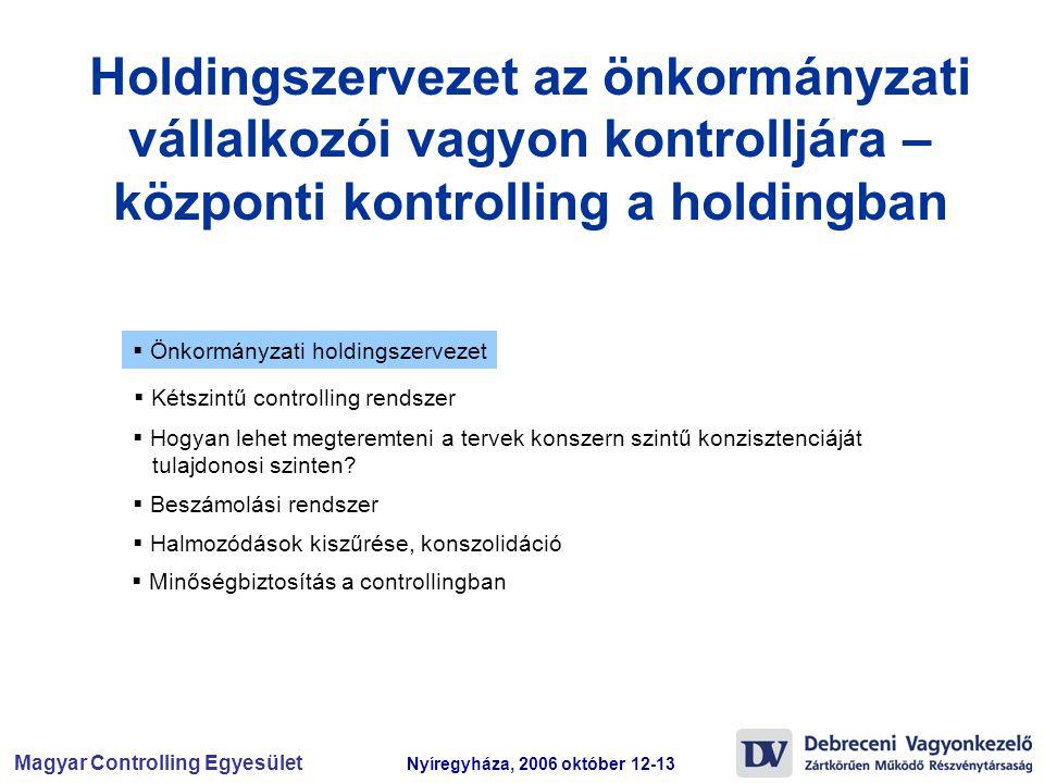 Magyar Controlling Egyesület Nyíregyháza, 2006 október 12-13  Önkormányzati holdingszervezet  Beszámolási rendszer  Kétszintű controlling rendszer  Hogyan lehet megteremteni a tervek konszern szintű konzisztenciáját tulajdonosi szinten.