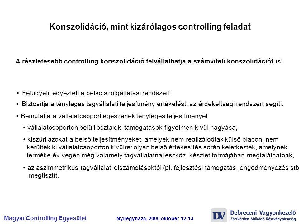 Magyar Controlling Egyesület Nyíregyháza, 2006 október 12-13 A részletesebb controlling konszolidáció felvállalhatja a számviteli konszolidációt is! 