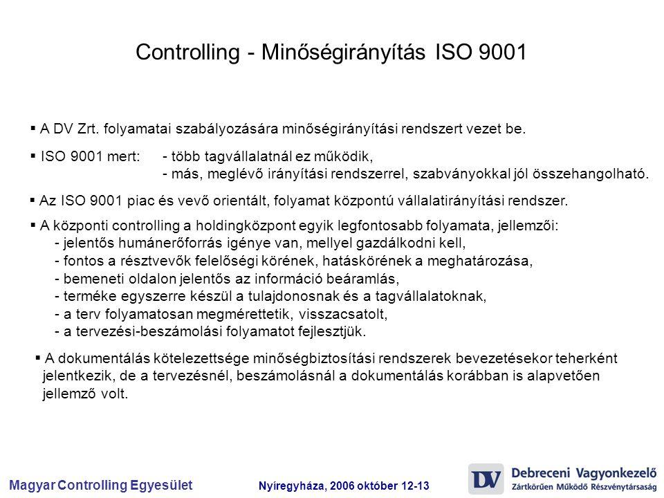 Magyar Controlling Egyesület Nyíregyháza, 2006 október 12-13 Controlling - Minőségirányítás ISO 9001  A DV Zrt. folyamatai szabályozására minőségirán