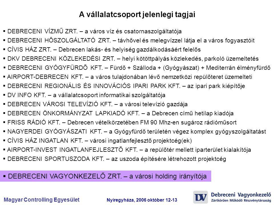 Magyar Controlling Egyesület Nyíregyháza, 2006 október 12-13  DEBRECENI VÍZMŰ ZRT. – a város víz és csatornaszolgáltatója  DEBRECENI HŐSZOLGÁLTATÓ Z