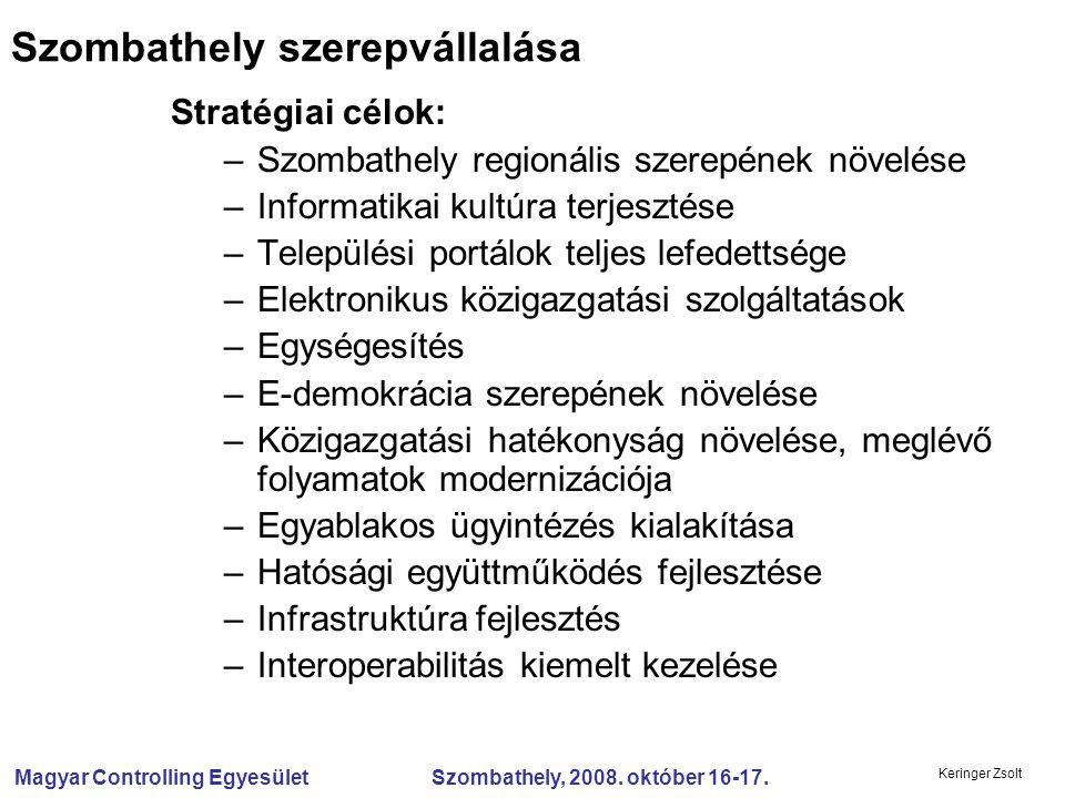 Magyar Controlling Egyesület Szombathely, 2008. október 16-17. Keringer Zsolt Szombathely szerepvállalása Stratégiai célok: –Szombathely regionális sz