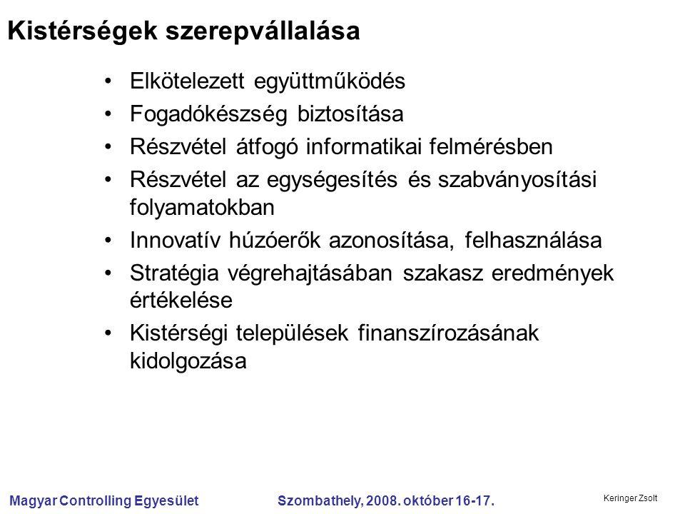 Magyar Controlling Egyesület Szombathely, 2008. október 16-17. Keringer Zsolt Elkötelezett együttműködés Fogadókészség biztosítása Részvétel átfogó in