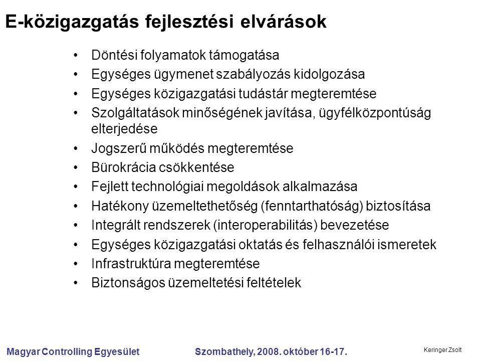 Magyar Controlling Egyesület Szombathely, 2008. október 16-17. Keringer Zsolt Döntési folyamatok támogatása Egységes ügymenet szabályozás kidolgozása