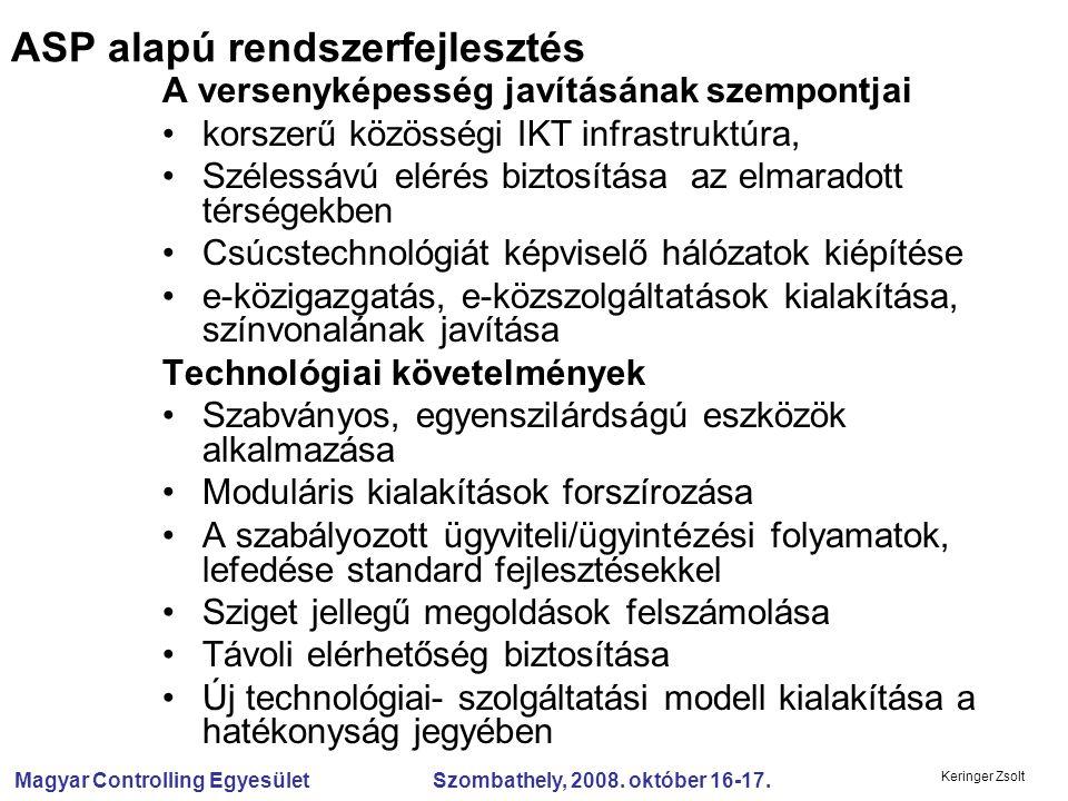Magyar Controlling Egyesület Szombathely, 2008. október 16-17. Keringer Zsolt A versenyképesség javításának szempontjai korszerű közösségi IKT infrast