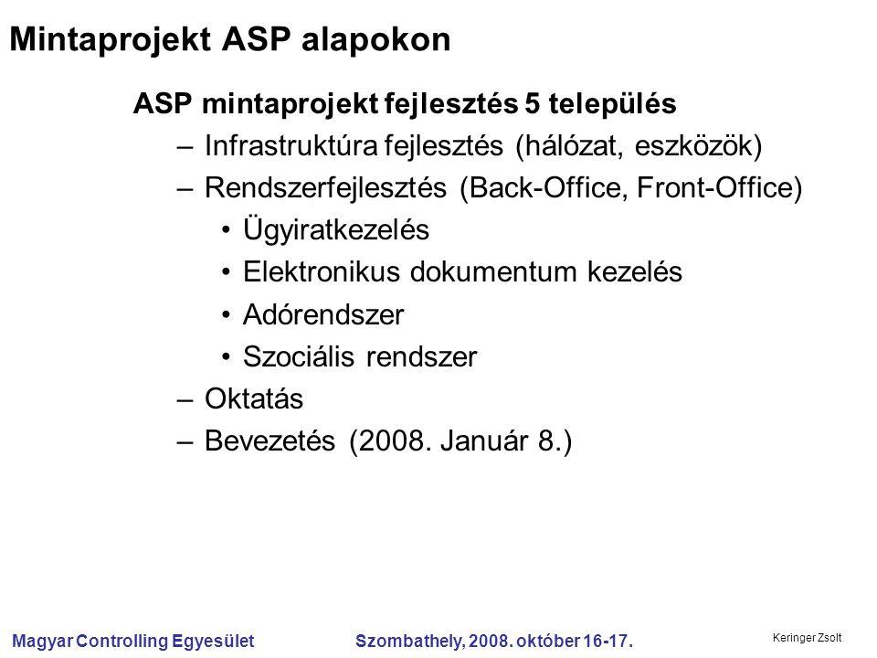 Magyar Controlling Egyesület Szombathely, 2008. október 16-17. Keringer Zsolt ASP mintaprojekt fejlesztés 5 település –Infrastruktúra fejlesztés (háló