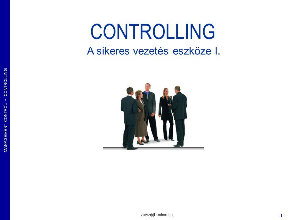 MANAGEMENT CONTROL - CONTROLLING - 22 - veryz@t-online.hu Controlling, több perspektívában A vállalat tevékenységek meghatározó dimenzióval együtt változik a controlling tárgya, szerepe és struktúrája.