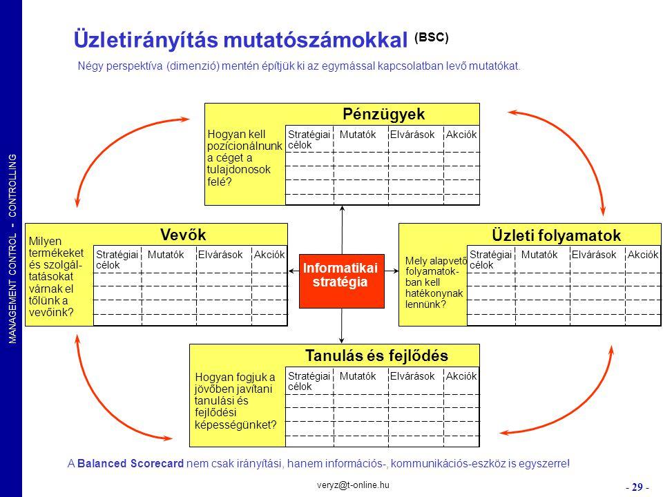 MANAGEMENT CONTROL - CONTROLLING - 29 - veryz@t-online.hu Üzletirányítás mutatószámokkal (BSC) Hogyan fogjuk a jövőben javítani tanulási és fejlődési
